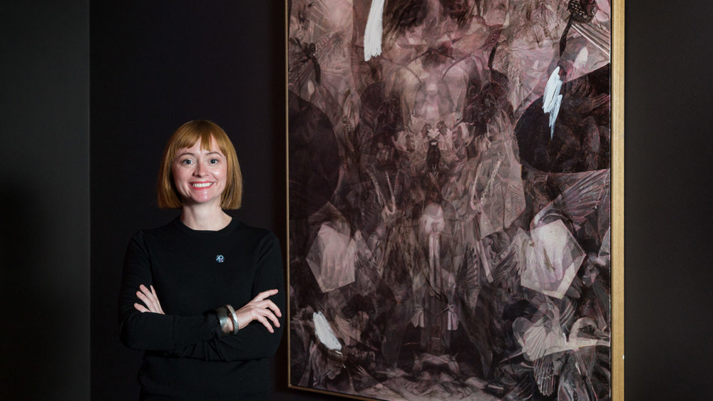 Julie Fragar with her painting, Goose Chase: All of Us Together Here and Nowhere. Photo: Saul Steed