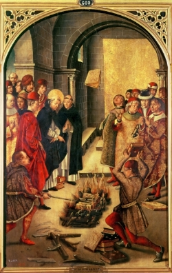 The Burning of Books or St Dominic de Guzman and the Albigensians, By Pedro Berruguete, 15th century