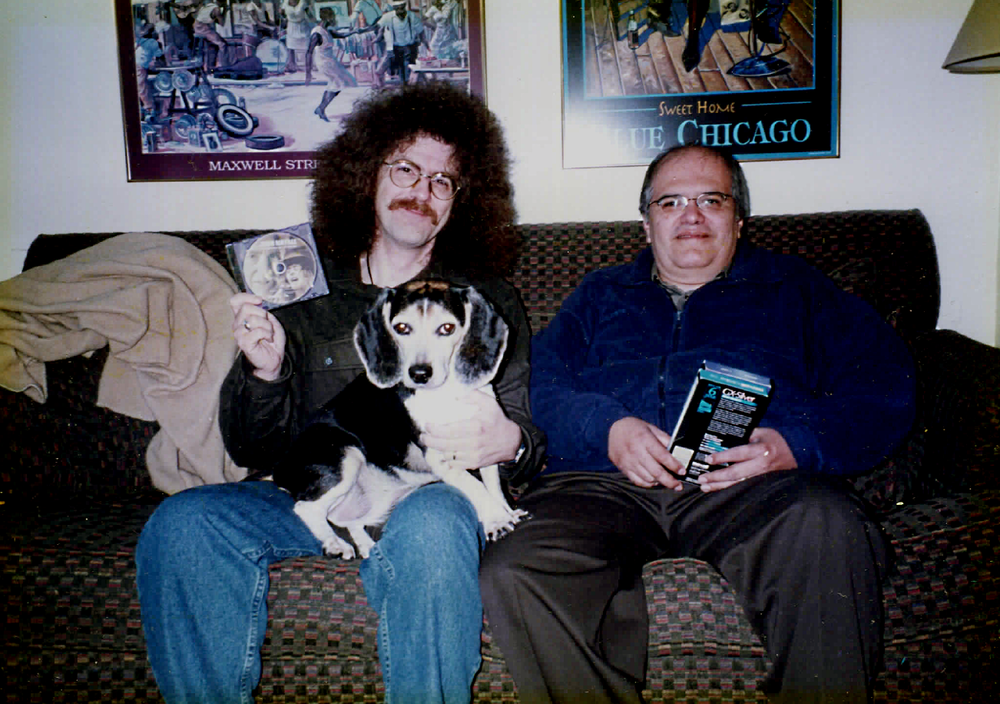George, Barney Beagle, and Ray from 1997 (Ray visiting George in Fort Wayne to hang out for an informal poetry and rock and roll weekend). Photo by Mary Ann Cain.