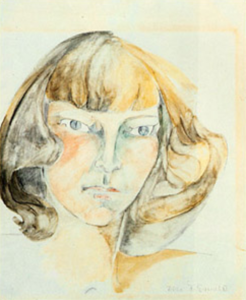 "Zelda Fitzgerald, ""Self-Portrait,"" watercolor, probably early 1940s. Image from  Wikipedia"