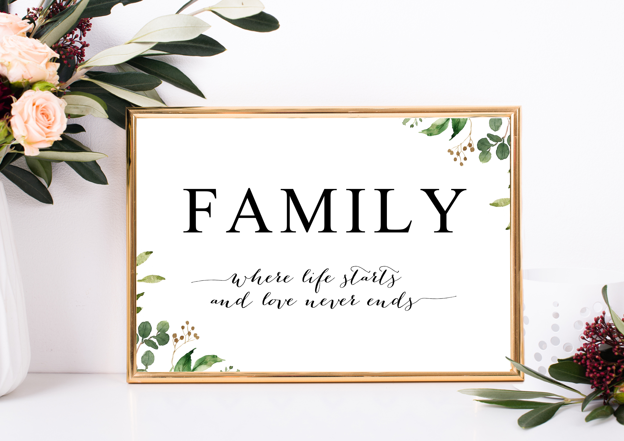 winter bloom photography family quote wall art printable