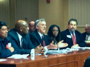 Testifying in behalf of raising minimum wage in                     Maryland
