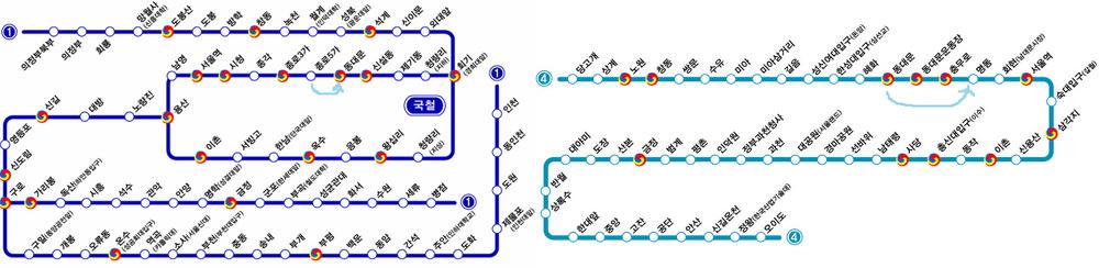 1號線鍾路5街站 --東大門站--4號線明洞站
