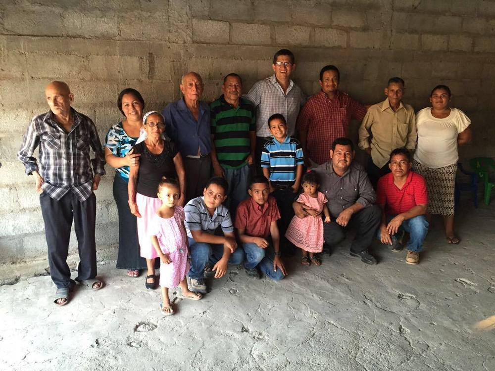 Pastor Job from Oasis Church with the new church members in Tizatillo