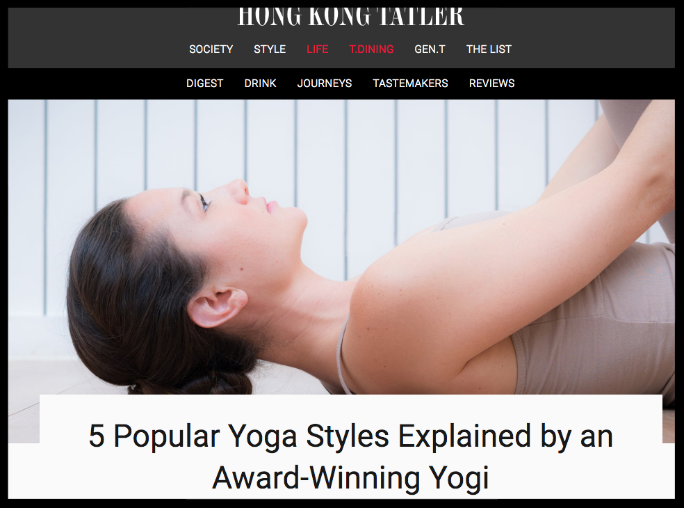 Hong Kong Tatler: 5 Popular Yoga Styles Explained by an Award - Winning Yogi - In Sanskrit, Ha means sun (masculine) and Tha means moon (feminine). So the purpose of Hatha yoga is to create a balance between the masculine and feminine energies that exist within us. We use yoga poses to strike the same balance between strength and flexibility.
