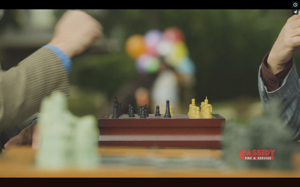 It always helps adding a foreground element in. Even though it makes no sense, A second chess set had great leading lines which leads your eye right to Scott running up.