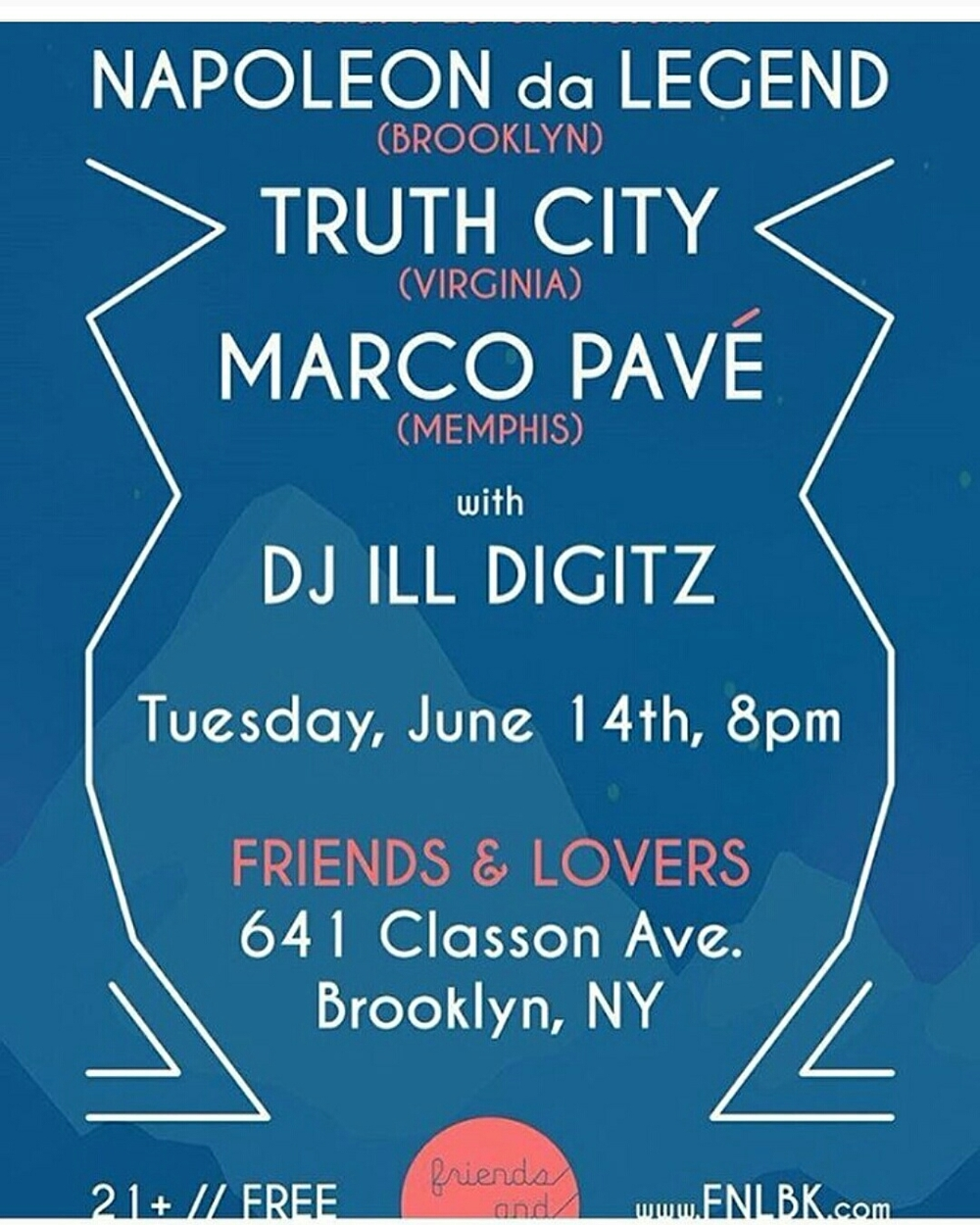 June 14th at Friends and Lovers in Brooklyn