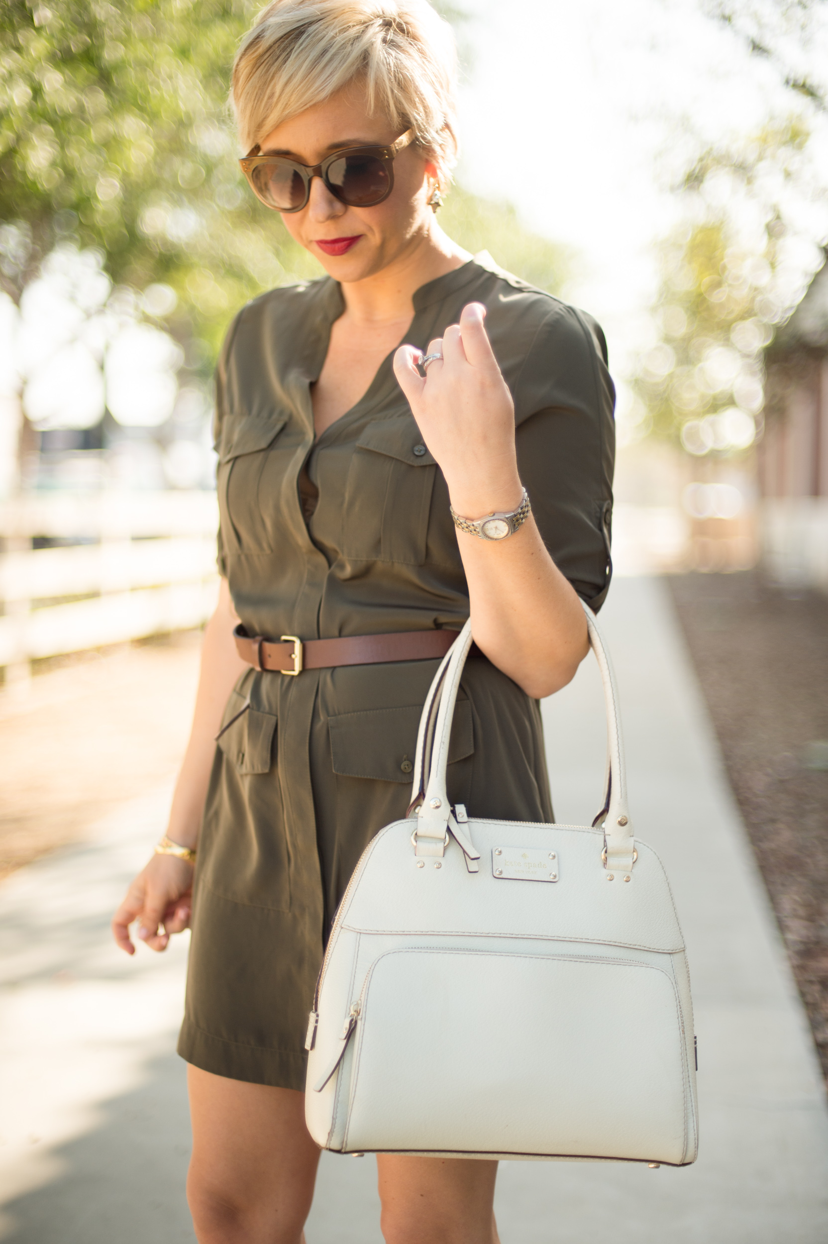 Olive Green Shirt Dress Life With Lipstick On