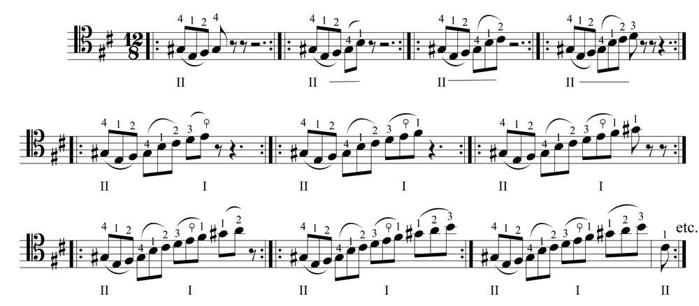Miranda Wilson, preparatory etude for mm. 67-68 of Bach's  Prelude from Suite No. 6 in D Major, BWV 1012