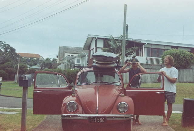 This old 1961 red Beetle is the perfect car to go on a surf trip to Mangawhai..