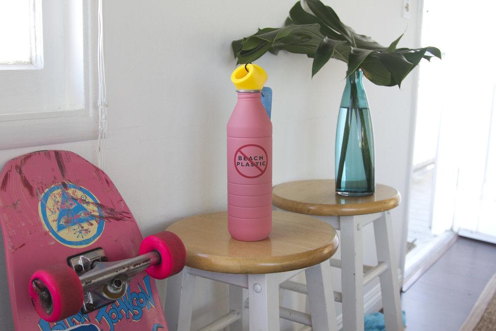 Reusable Water Bottle - No Beach Plastic - Photo by Chelsea Jeheber