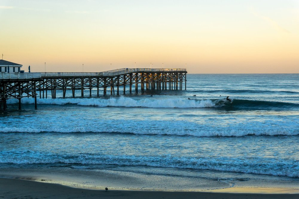Don't believe people when they say Southern California is always crowded; San Diego isn't too bad! Ready for a surf at sunset?