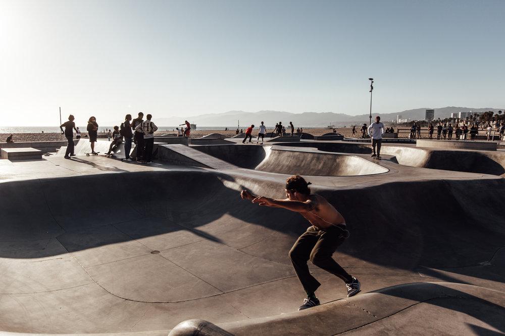 A skateboarder in Venice Beach, California. Photographer: Catherine Bernier