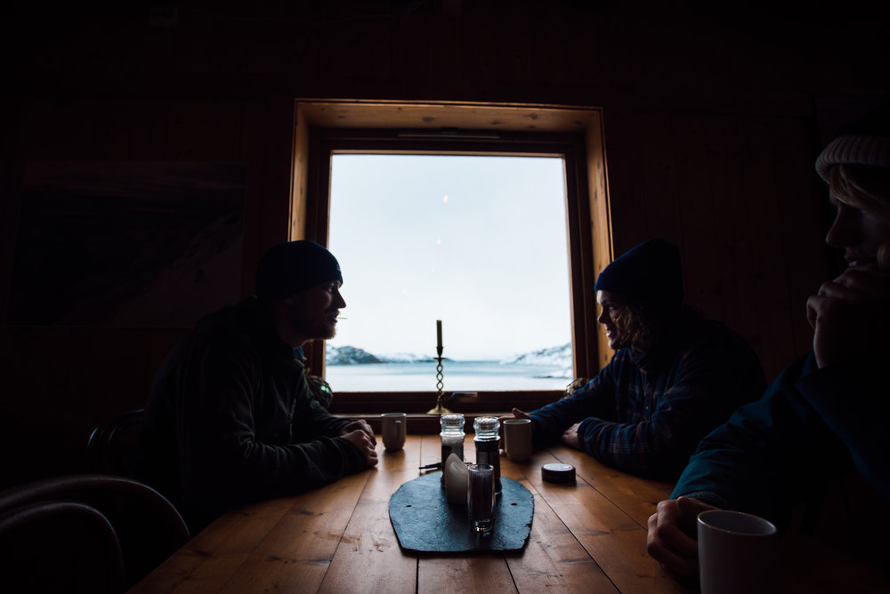 Nothing could beats a few mates, warm coffees and good waves. Welcome to Lofoten, Norway. Photography by Jakob Gjerluff