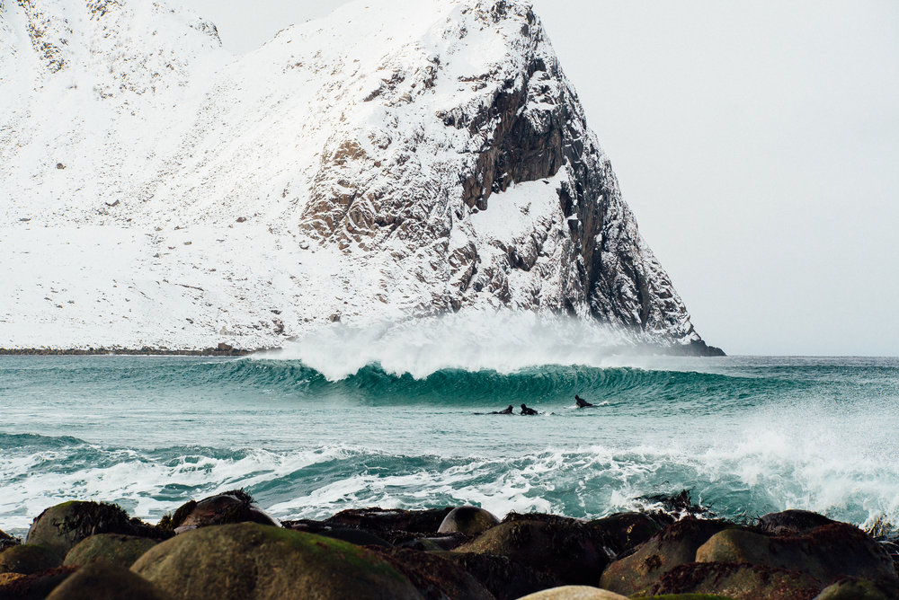 Cold water surfing is one hell of a experience—shall we try it too? Lofoten, Norway. Photography by Jakob Gjerluff