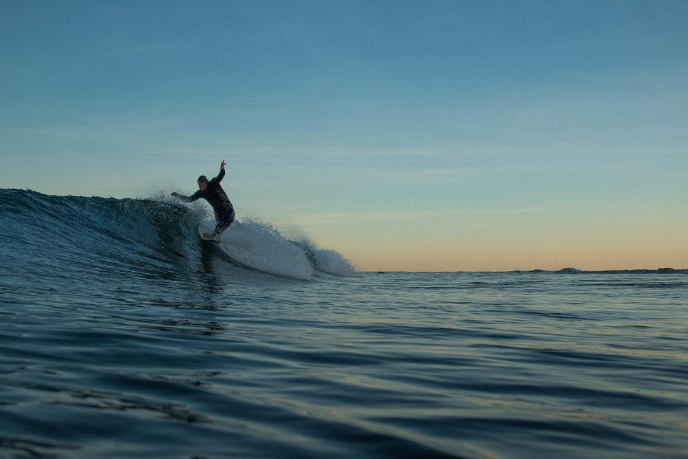 Nova Scotia's surfer, Dean Petty, captured in Nova Scotia by Tom Terrell.
