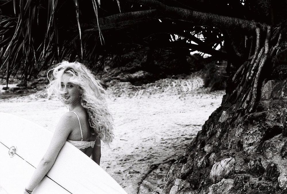 Rachel Frankenbach's main muse, Zoe Boxshall, in Byron Bay, Australia.