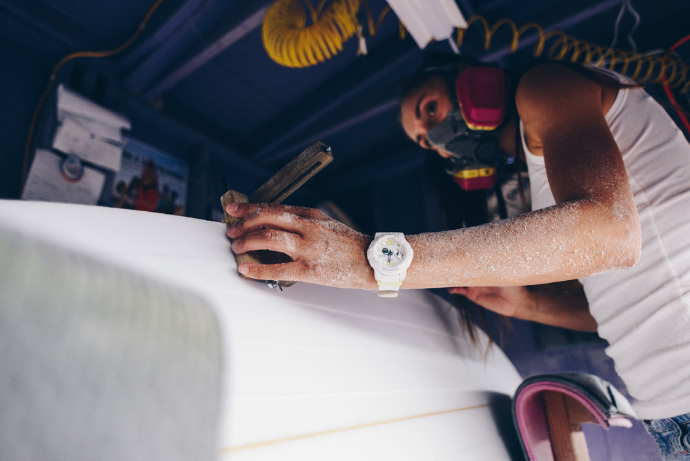 In the shaping bay with Valerie Duprat, founder Mere-Made Surfboards. Photo by Austin Mullen