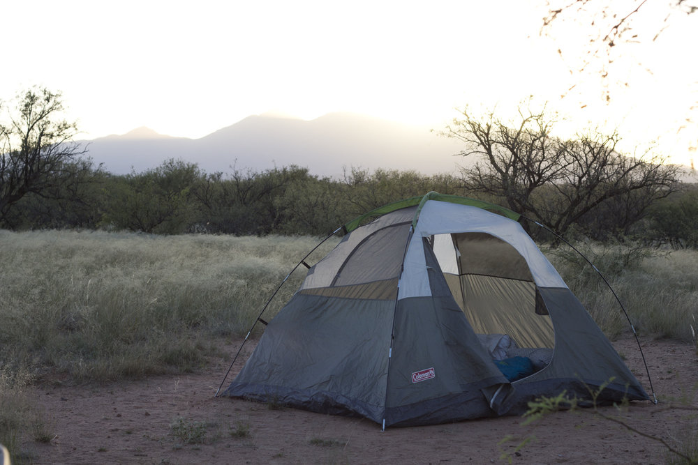 Our home for the night in Sonoita, Arizona. This tent played as our home for a majority of nights on the road.