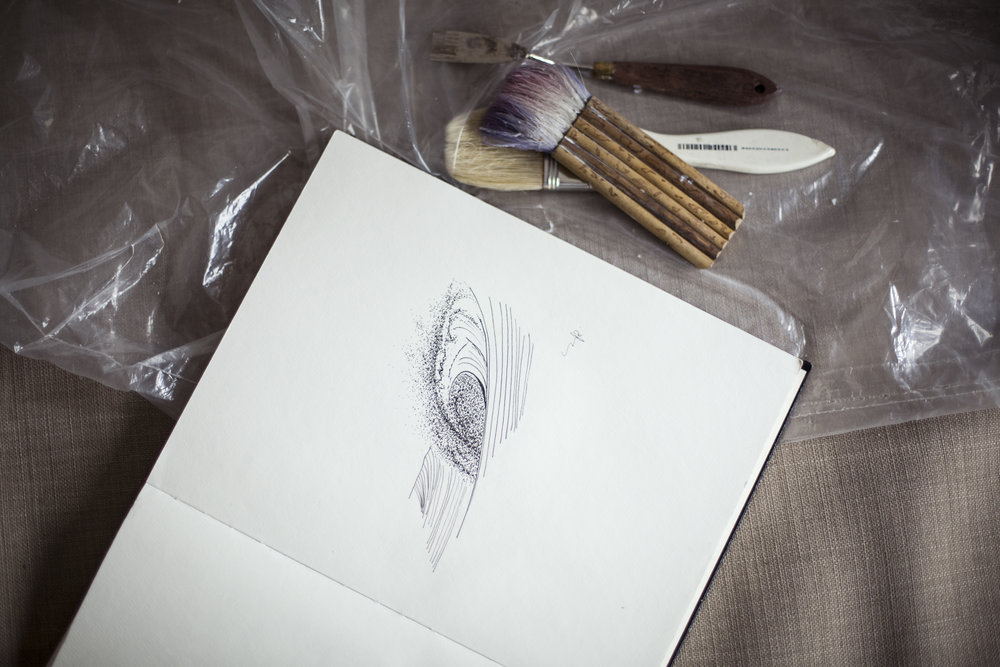 In the draft book of painter Nathalie Minerva. Captured by Alexandra Côté-Durrer