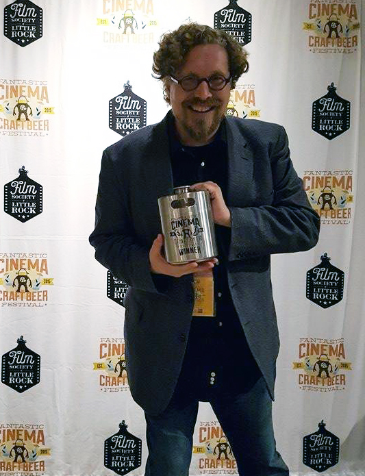 Director Spencer Parsons' accepting The Growler for Best Short Film Director for Bite Radius - Photo credit: Gigi Saul Guerrero