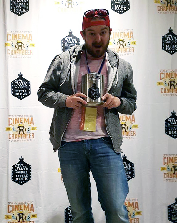 CURED, Co-Director Eric England, accepting The Growler for Best Short Film Cinematography on behalf of Director of Photography Gabe Mayhan - Photo credit: Gigi Saul Guerrero