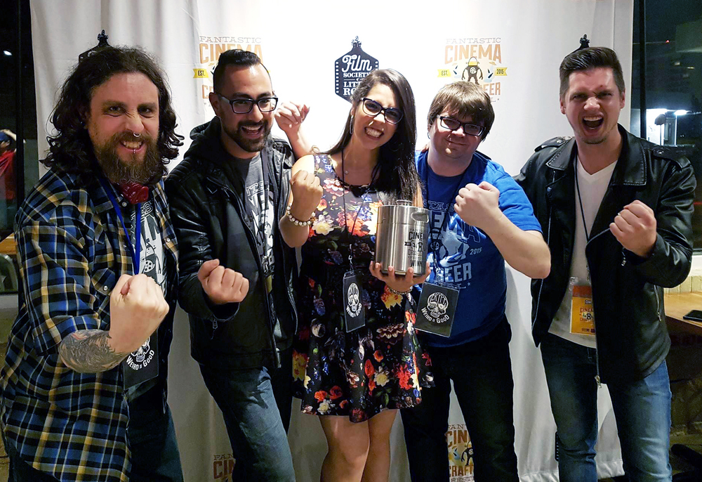 Luchagore Productions took home The Growler for the Emerging Filmmakers Award. Pictured: Josh Millican from Crypt TV, Raynor Shima (Luchagore), Gigi Saul Guerrero (Luchagore), Tony Taylor (Festival Director), and Luke Bramley (Luchagore) - Photo credit: Gigi Saul Guerrero