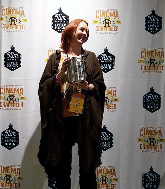 Fiona Horrigan accepting The Growler for IN THE DARK winning the Blood, Sweat, & Tears Award - Photo credit: Gigi Saul Guerrero