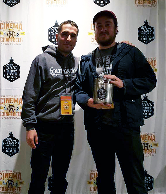 Producer/Cinematographer Michael Cuartas and Producer/Director Jonathan Cuartas accepting The Growler for TWELVE TRADITIONS winning the Blood, Sweat, & Tears Award - Photo credit: Gigi Saul Guerrero