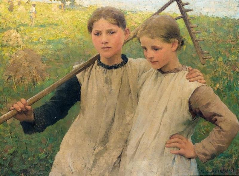 - Sir George Clausen, R.A. (London 1852–1944 Newbury)Little haymakers