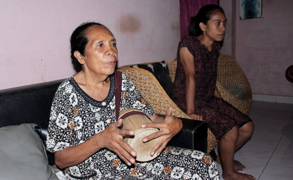 Mama Dora shows me a drum played women for the traditional dance called likkurai (the best drumheads, she said, are made from catskin!)