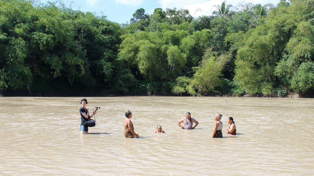 Dijf Sanders recording water music in Plana, Central Java