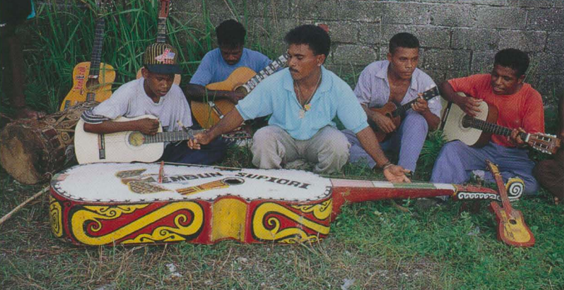 Yospan string band music in Biak, West Papua - photo cropped from P. Yampolsky's Smithsonian Folkways album, Music in Indonesia, Vol. 10; Photo by Philip Yampolsky
