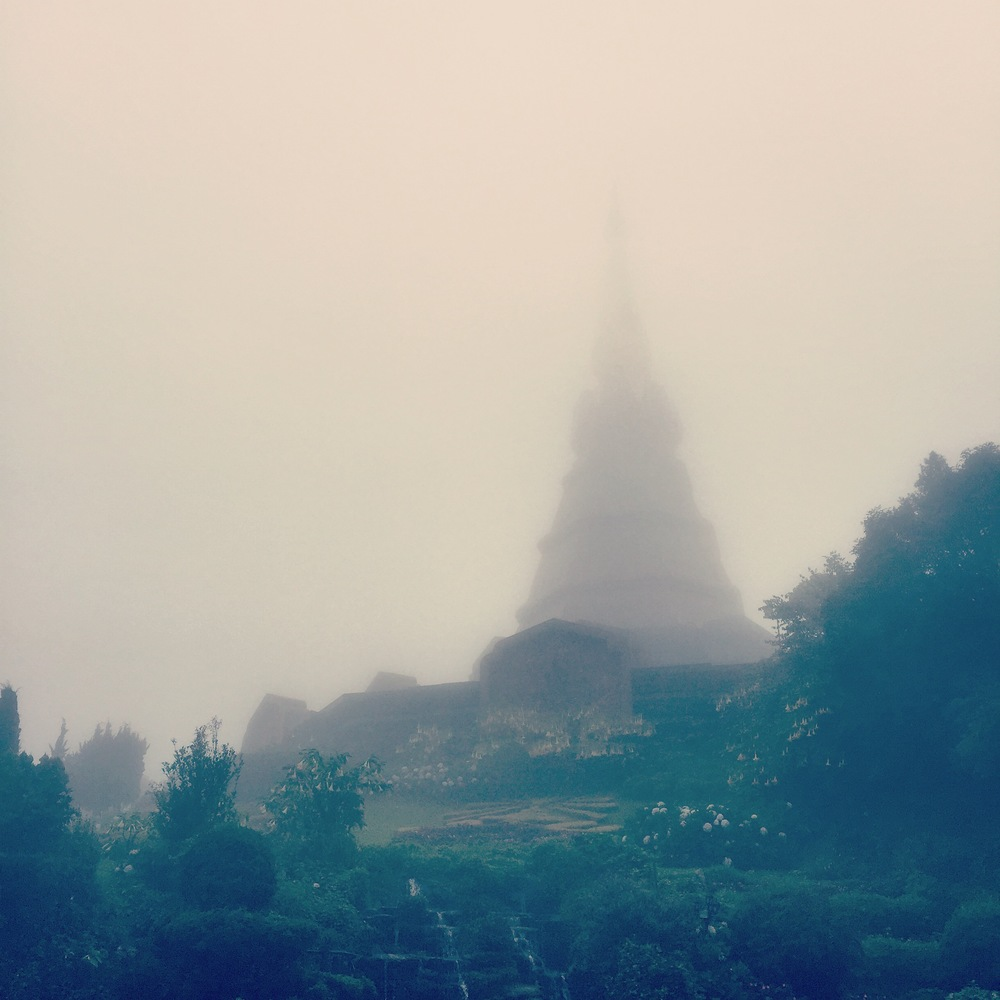 Now the main reason I wanted to go to this mountain was to see this garden with two stupas that were built for the king and queen of Thailand. It was a really overcast day and plus we were literally in the clouds. Even though we couldn't get the ideal experience I thought it was still beautiful. I also know I'll be back someday.