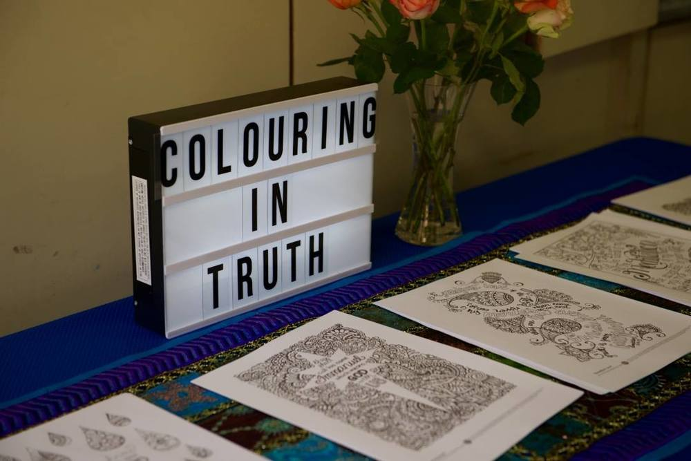 Over 80 colouring enthusiasts worked on designs from the book. Photo by Rachel Li
