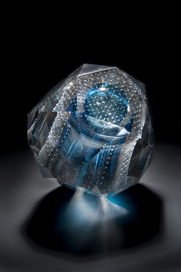 Shelley James, Polytope Series, 'Icosidodecahedron', hot glass and print, 2015, 13cm copy.jpg