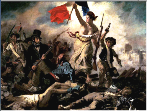 'Liberty Leading the People', the painting by Eugene Delacroix, 'Liberte, Egalite et Fraternite' depicting the storming of the Bastille.