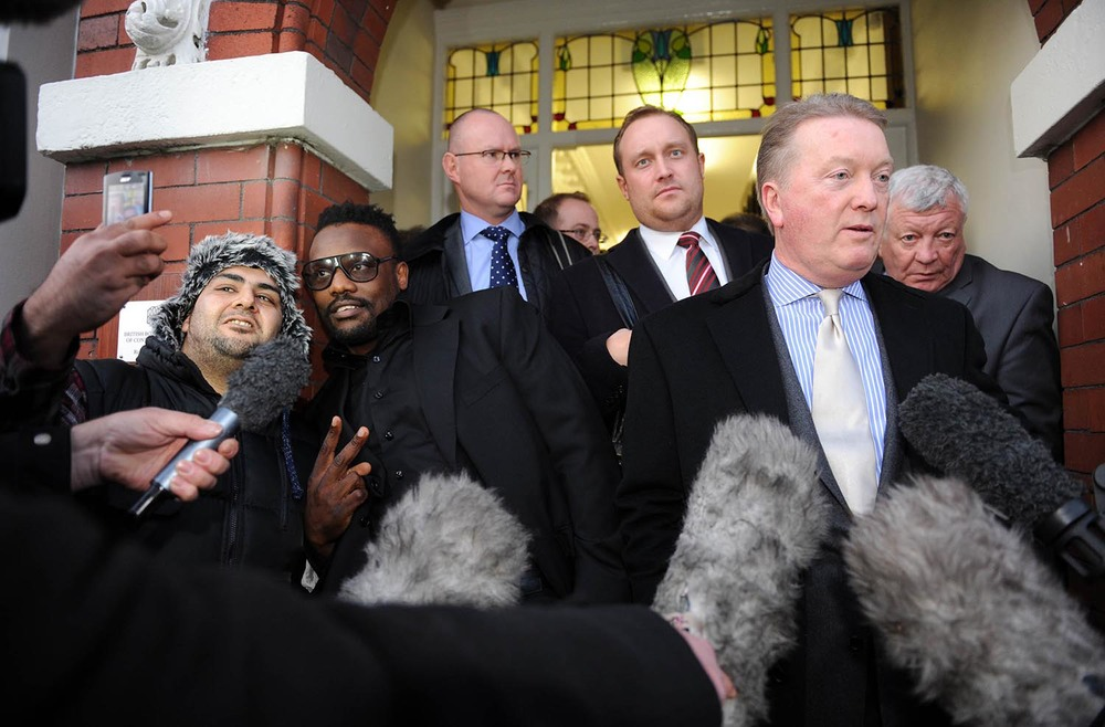 Dereck Chisora and Frank Warren leave BBBC hearing
