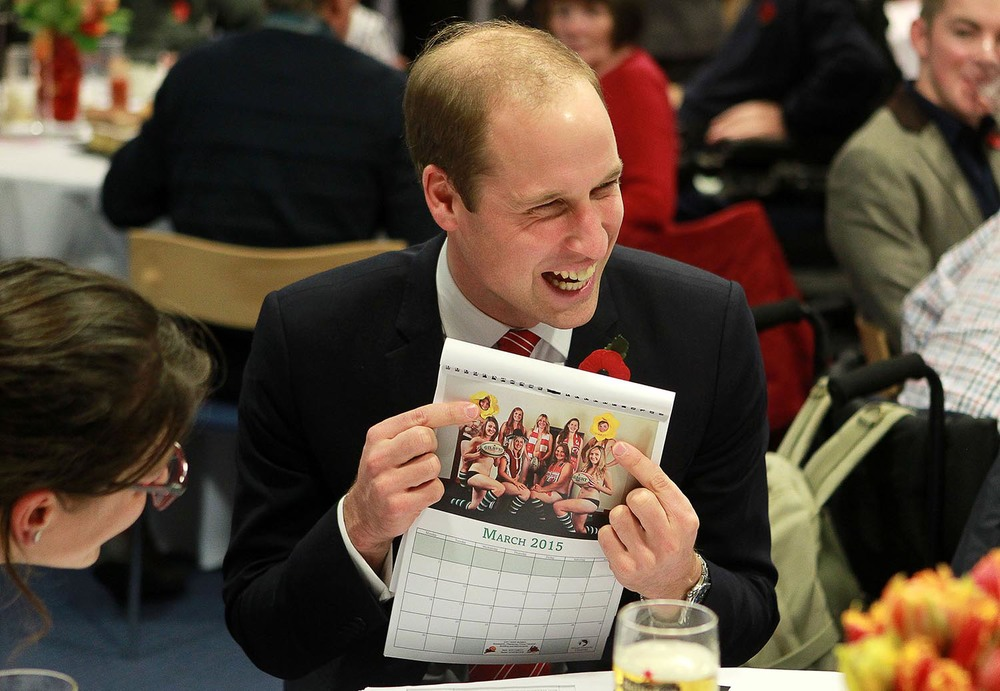 Prince William enjoys the Gwernyfed Ladies 2015 calendar