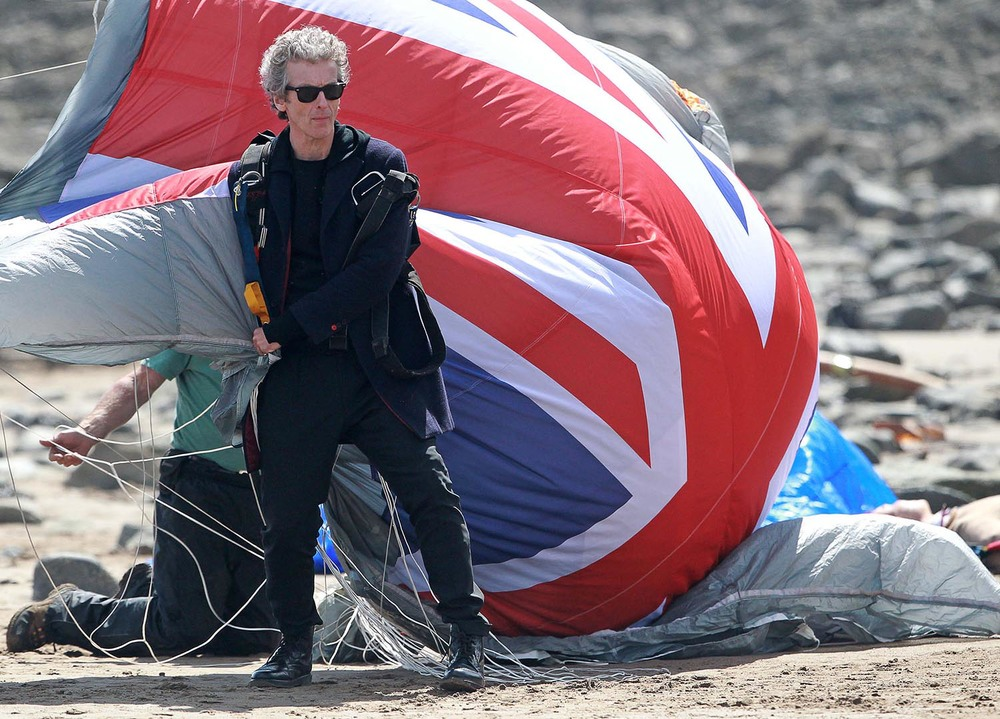 Peter Capaldi filming Doctor Who