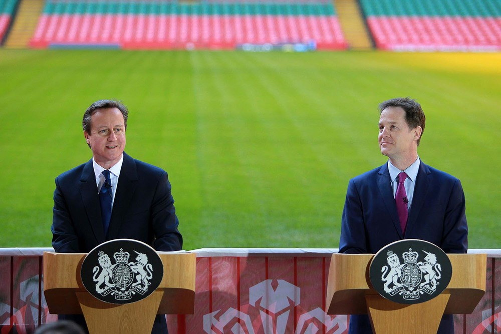 David Cameron and Nick Clegg at the Millennium Stadium