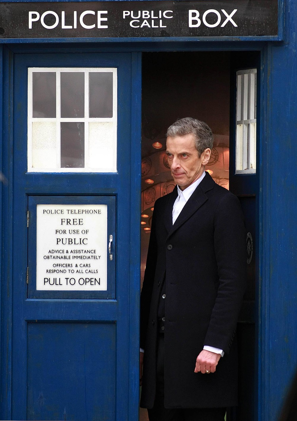 Peter Capaldi in the TARDIS