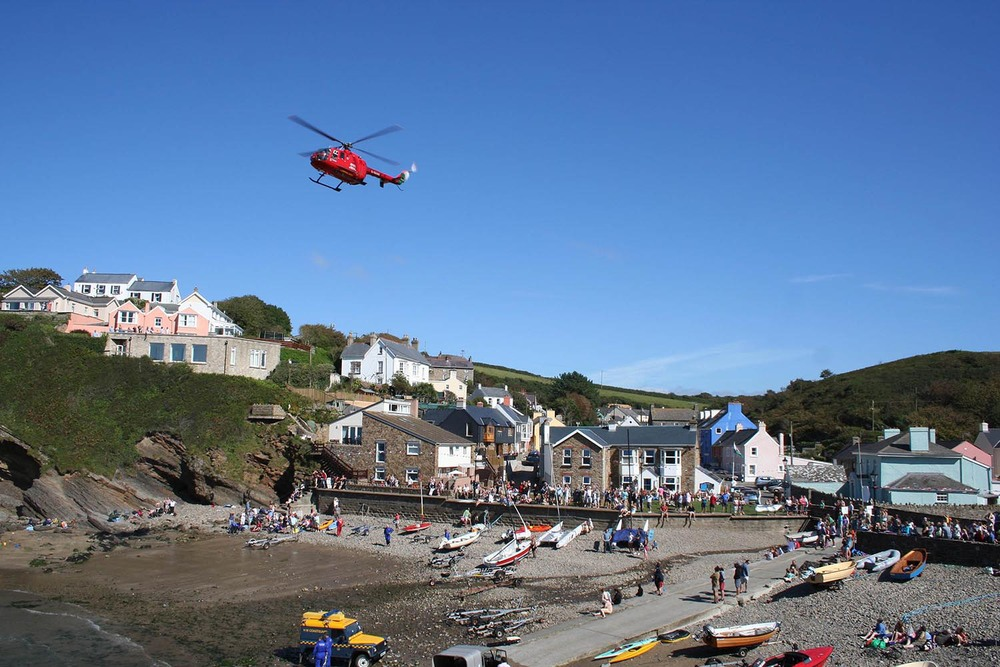 Air Ambulance lands on the beach at Little Haven in West Wales