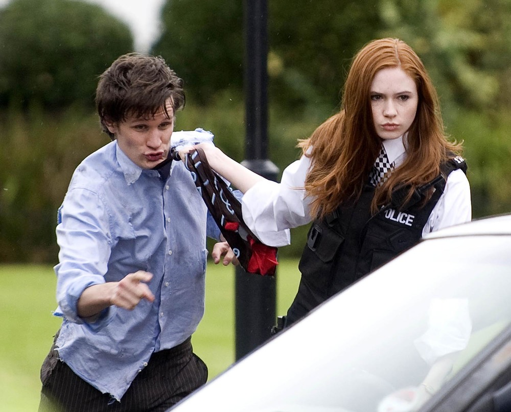 Matt Smith and Karen Gillan filming Doctor Who