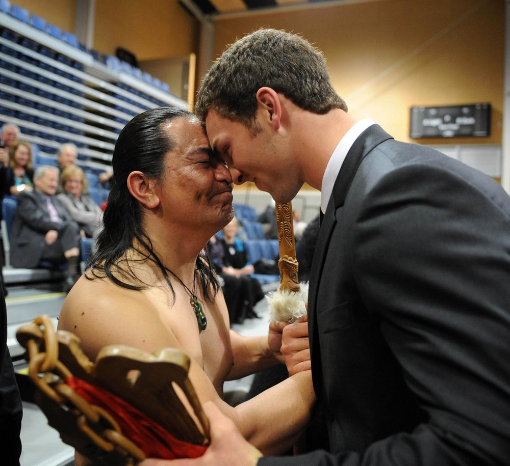 George North receives a Maori welcome