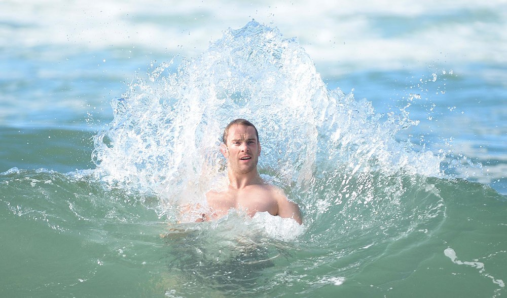 Alun Wyn Jones during a recovery session in the sea