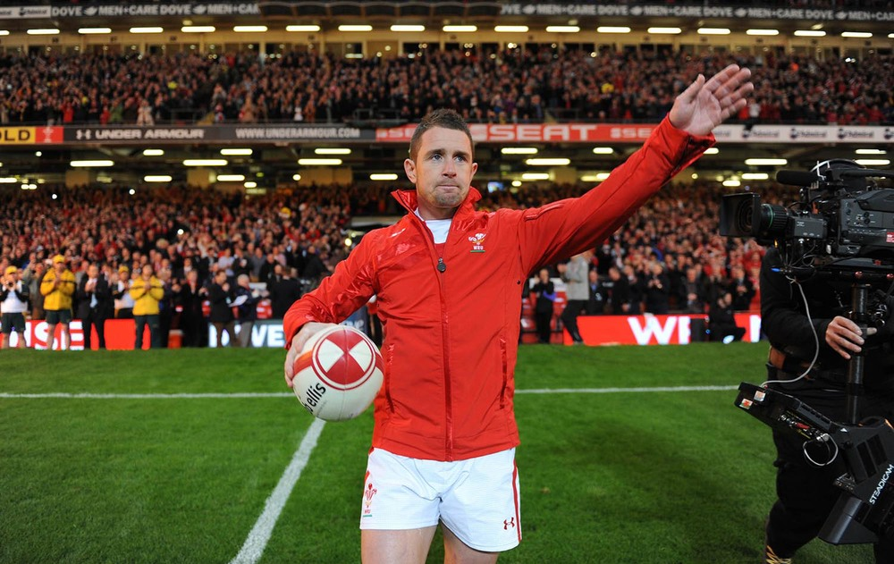 Shane Williams of Wales leads his side out in his final test match