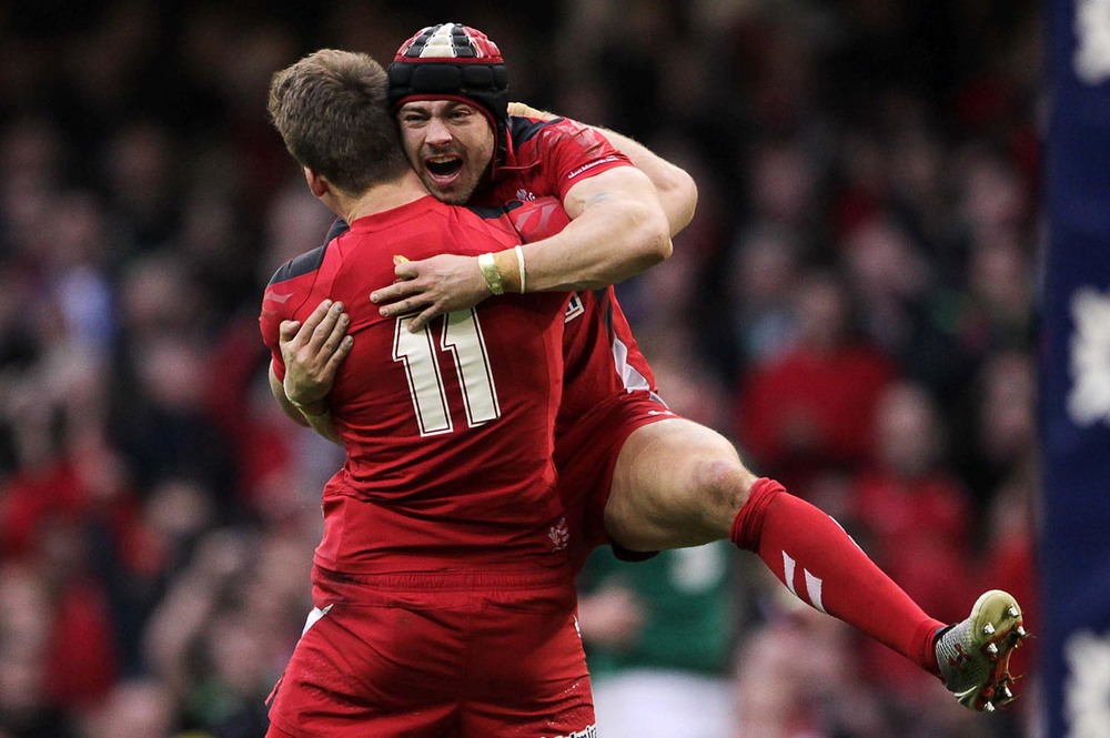 Liam Williams  and Leigh Halfpenny of Wales celebrate victory