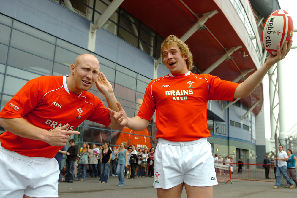 Alun Wyn Jones and Tom Shanklin at the Millennium Stadium for the X-Factor Auditions