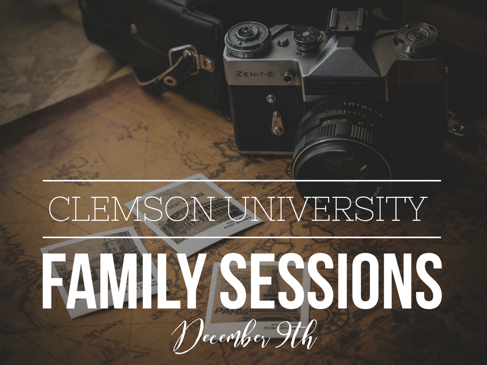 Clemson University Family mini Sessions  On December 9th, 2017, I will be in the upstate at the beautiful Clemson University campus for a Gorgeous Senior Session.  However since I will already be on the campus, I wanted to offer the opportunity to have family portraits on the beautiful campus.   TO BOOK:  purchase below and send an Email: lgillenphotography@gmail.com to request a time slot.  Times available are :  1:15, 2:15, 3:15, and 4:15  DETAILS:  Sessions include 30 minute coverage, 8 digital images and a Facebook cover.  Additional images, prints and canvases will be available for purchase as well as full digital package.  Turnaround time is 1-2 weeks.